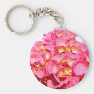 Hydrangea rosado llavero redondo tipo chapa