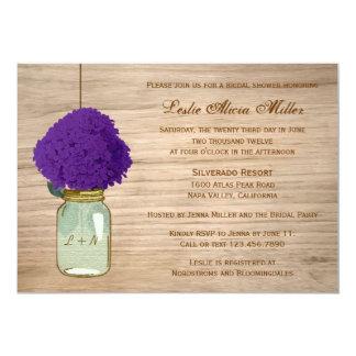 Hydrangea rústico de la púrpura del tarro de invitación 12,7 x 17,8 cm