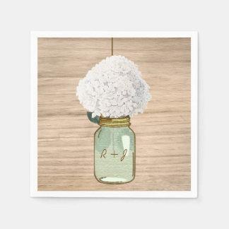 Hydrangea rústico de madera del tarro de albañil servilleta de papel