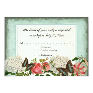 Hydrangea subió lirio de la mariposa n del invitación 8,9 x 12,7 cm