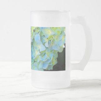 Hydrangea verde azul claro taza de cristal esmerilado