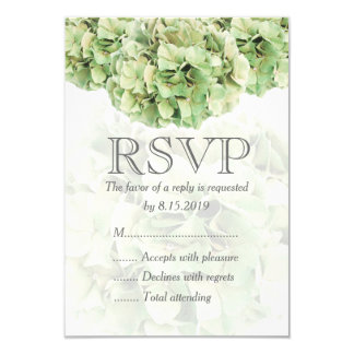 Hydrangea verde que casa la tarjeta de RSVP