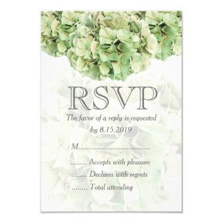 Hydrangea verde que casa la tarjeta de RSVP Invitación 8,9 X 12,7 Cm