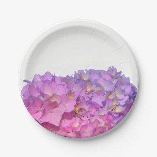 Hydrangeas rosados y azules plato de papel