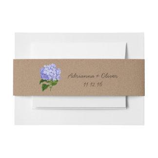 Hydrangeas rústicos del azul del modelo del papel cintas para invitaciones