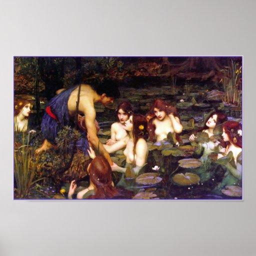 Hylas y las ninfas por el Waterhouse de Juan Poster