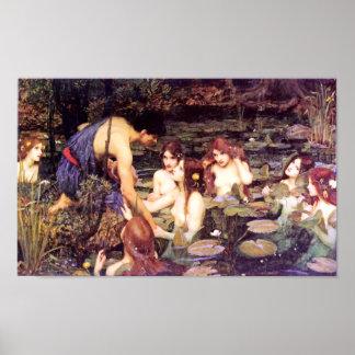 Hylas y las ninfas póster