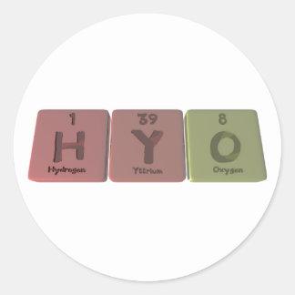 Hyo como oxígeno del itrio del hidrógeno pegatinas