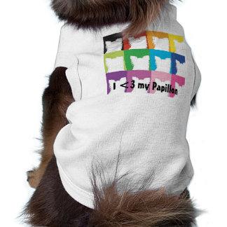 I <3 mi camiseta de Papillon Camiseta Sin Mangas Para Perro