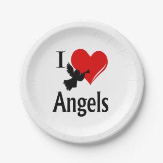 I ángeles del corazón plato de papel