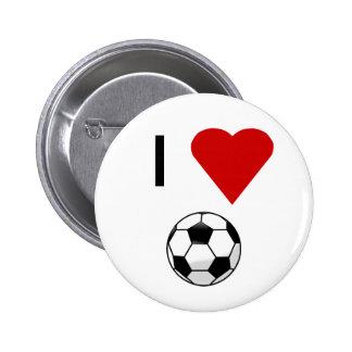 I botón del fútbol del corazón pin