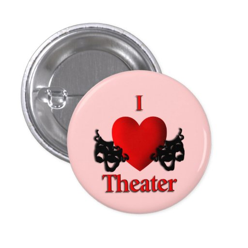 I botón/Pin del rosa del teatro del corazón