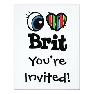 I británico del corazón (amor) invitación 10,8 x 13,9 cm