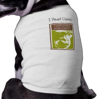 I camiseta del perrito de los chimpancés del coraz