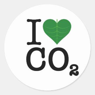 I CO2 del corazón Etiquetas Redondas