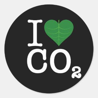 I CO2 del corazón Pegatinas Redondas