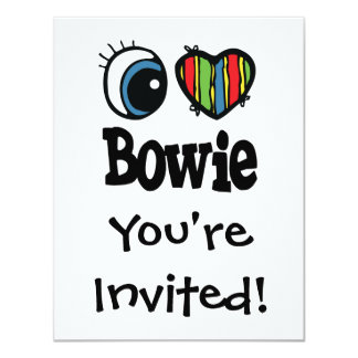 I corazón (amor) Bowie Invitación 10,8 X 13,9 Cm