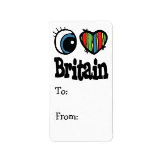 I corazón (amor) Gran Bretaña Etiquetas De Dirección