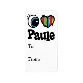 I corazón (amor) Paule Etiqueta De Dirección