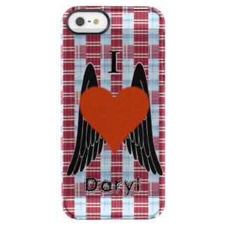 I corazón Daryl con el fondo de la tela escocesa y Funda Clearly™ Deflector Para iPhone 5 De Uncommon