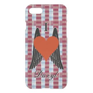 I corazón Daryl con el fondo de la tela escocesa y Funda Para iPhone 7
