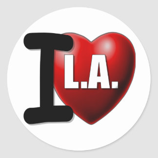 I corazón Los Ángeles - LA del amor de I Pegatina Redonda