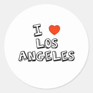 I corazón Los Ángeles Pegatina Redonda