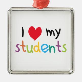I corazón mi amor del profesor de estudiantes adorno cuadrado plateado