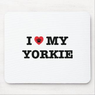 I corazón mi cojín de ratón de Yorkie Alfombrilla De Ratón