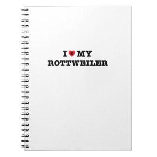 I corazón mi cuaderno espiral de Rottweiler