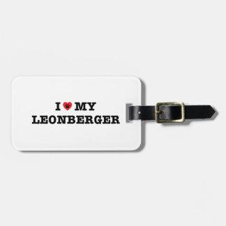 I corazón mi etiqueta del equipaje de Leonberger