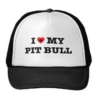 I corazón mi gorra del camionero del pitbull