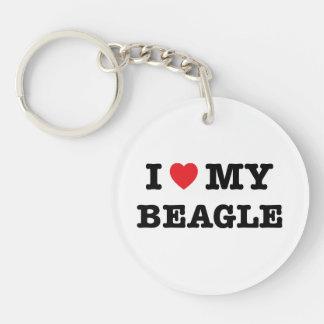 I corazón mi llavero del acrílico del beagle