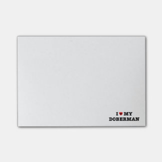 I corazón mis notas de post-it del Doberman