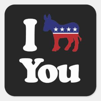 I Demócrata usted - Colcomanias Cuadradas Personalizadas