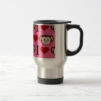 I el amor del rosa I del mono del corazón Monkeys Taza De Café