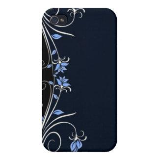 I floral elegante del negro, azul y blanco iPhone 4 protector