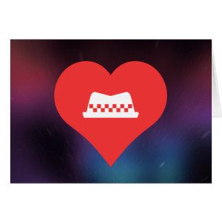 I gorras del taxista del corazón tarjeta de felicitación