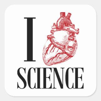I heart science pegatina cuadrada