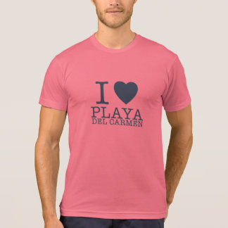 I love Playa del Carmen  T-Shirt Blue and Orange Camiseta