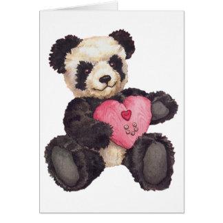 I panda del corazón U Tarjeta De Felicitación