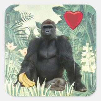 I pegatina cuadrado de los gorilas del corazón