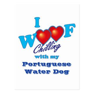 I perro de agua portugués del tejido postal