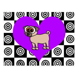 I perros del corazón - negros, postal púrpura,