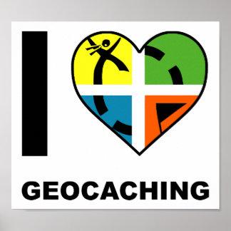 I poster divertido de Geocaching del corazón Póster