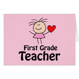I profesor del primer grado del corazón tarjeta de felicitación