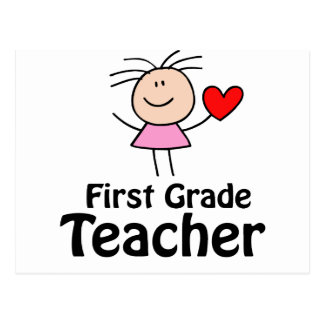 I profesor del primer grado del corazón postales
