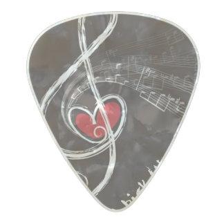 I púa de guitarra del personalizado del CORAZÓN Púa De Guitarra Celuloide Nacarado