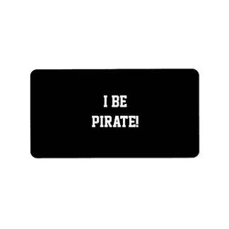 ¡I sea pirata! Blanco y negro. Texto intrépido Etiquetas De Dirección
