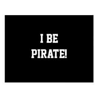 ¡I sea pirata! Blanco y negro. Texto intrépido Postal